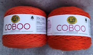Lion Brand Yarns COBOO Cotton Bamboo Blend Yarn Orange Lot of 2 (232 yards each)