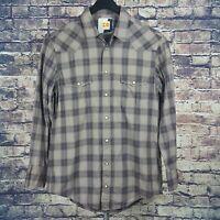 HUGO BOSS ORANGE Mens Gray Plaid Western Pearl Snap Shirt Sz Medium M