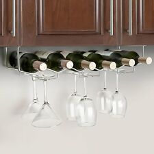 Final Touch S/S Under Kitchen Cabinet Bar Counter Wine Glasses and Bottle Rack