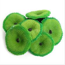 Aquarium Artificial Fake Soft Disc Coral Plant Fish Tank Ornament Pop Rduj Green