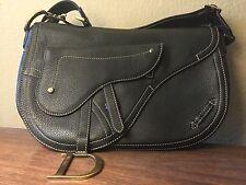 RARE VINTAGE CHRISTIAN DIOR Long Strap Black Leather Saddle Bag  W/ Cards, NWOT
