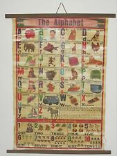"""Vntg Alphabet Chart~English & another language~ Cheesecloth-backed paper~ 22""""x29"""