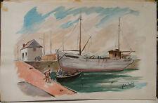 "Peinture Aquarelle PIERRE ABADIE LANDEL "" Port-Rhu "" Bretagne PAL27"