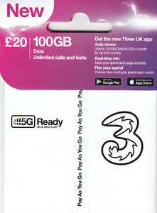 New Three UK SIM Card with £10 Credit - 5G Compatible