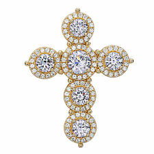 Cross Religious Pendant AAA quality CZ Sterling Silver Yellow Gold Plated