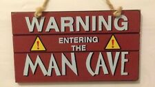 Warning Sign Entering The The Man Cave Red Shabby Chic Plaque Fathers Day Dad