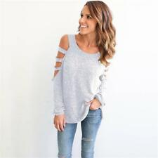 Womens Lace Hollow Cold Shoulder Dress Ladies Long Sleeve Sexy Tops one