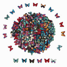 50Pcs Colorful Butterfly Phantom Wooden Sewing Buttons 2 Holes Crafts Button New