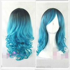 Women Long Wavy Curly Ombre Black Blue Mixed Wigs Cosplay Anime Wig Synthetic
