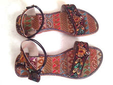 US 8.5  women handmade sandal leather sole beaded bollywood shoes emroidered art