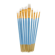 10Pcs Nylon Hair Artist Brushes Nail Art Blue Watercolor Oil Painting White Tips