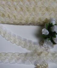 "1"" (W) Ivory White Weave Braid Organza Ribbon Tape -1 Yard-T748"