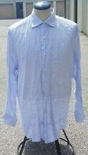 Canali Mens Button Front Dress Shirt 100% Linen Purple Check Size 16.5 x 33 / 42