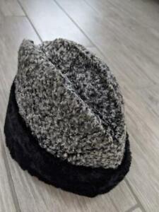 1950s vintage CURLY LAMBS WOOL gray black SMALL fur