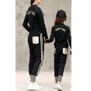Mutter und Tochter Trainingsanzug  Gold Silber Familie passende Outfits