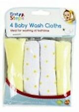 Baby Face Wash Cloths Pack Of 4 - Machine Washable (Lemon)