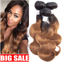 DOUBLE DRAWN THICK 8A VIRGIN HUMAN HAIR WEAVE EXTENSIONS WEFT WAVY OMBRE BUNDLES