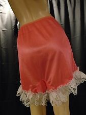 Pink White Lace Nylon Pettipants Sissy Panty  Bloomers Plus Size 13 Waist 33-43