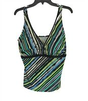 Suit! Yourself Women's Swim Size 18W Top Blue Green Tank Padded Stretch TOP ONLY