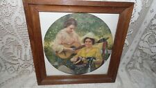 VINTAGE PICTURE LITHO LADIES MUSICAL INSTRUMENTS MUSIC WOOD FRAME