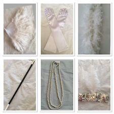 20s Flapper Headband Feather Boa Gloves Cigarette Holder Necklce Fan Gatsby Set