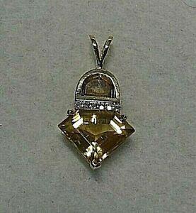 Citrine and Diamond Pendant 14k Yellow Gold