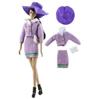Purple Top Coat Skirt Dress White Bag Hat Outfit Clothes for Barbie Doll 1/6 BJD