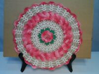 """A Beautiful VTG.~ 3-D~Hand Crocheted Pink Rose Doily~ Pink, White, Green, 9.5"""""""