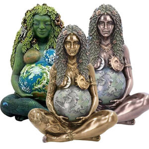 Millennial Gaia Mother Earth Goddess Art Polyresin Statue Figurine Home Decor