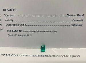 GIA AGL Cert Colombia Colombian Loose Emerald 14K White Gold Diamond Ring Mount