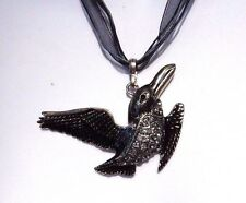TELL IT TO THE WING black bird pendant necklace rhinestone crow gothic C1