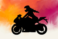 Girl Female Street Sport Bike Motorcycle Rider Vinyl Decal Sticker