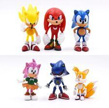 Super Sonic mini action figure toy models 6Pcs/set 7cm Knuckles Amy Rose Power
