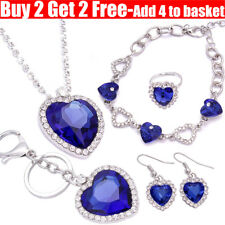 Women Titanic Blue Heart Of Ocean Necklace Pendant Earrings Bracelet For Women