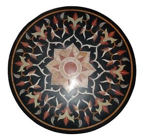 """30"""" Marble Table Top floral Inlay Work multi semi precious stones work"""