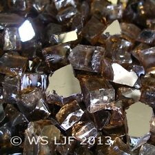 """1 Lb ~1/2"""" Chunky Copper Reflective Fireglass Fire Pit Fireplace Glass Crystals"""