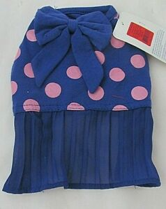 Top Paw XS Dog Dress Purple Pink Polka Dots Pleated Skirt Bow NWT Stretchy Cute