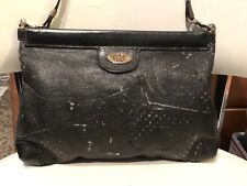 Vintage Black Gucci GG Crossbody Messenger Shoulder Bag Purse