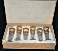 Silvestri Crystal, Murano Italy, Set of 6 Gold Encrusted Goblets, New in Box