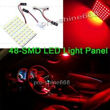 2X RED LED Dome Map Interior Light Bulb SMD 48-LED Panel Xenon HID Lamp 194