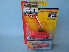 Matchbox 60th Anniversary 1962 VW Volkswagon Beetle Red Body Toy Model Car 70mm