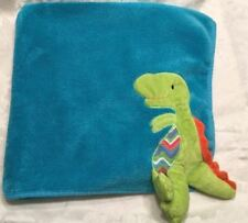 Rare Maison Chic Dinosaur Baby Security Blanket Teal Blue 28x30 3D Lovey