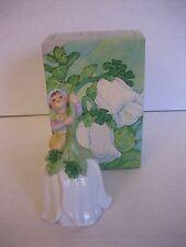 Vintage Avon Porcelain White & Green Good Luck Leprechaun Bell 1983 Nib 5 in.T