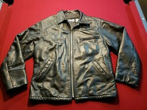 SCHOTT NYC  546 Steerhide Leather Jacket Coat Black Made in USA SIZE 44 Nice