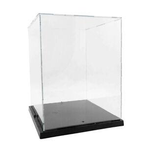 Clear Acrylic Plastic Display Box Case Dustproof Protection w/ Light Decor