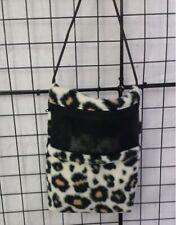Cream Cheetah 7 x 9 bonding pouch with neck strap