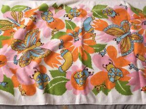 HTF Fieldcrest VTG Childs Bath Towel 100% Cotton Butterfly Ladybug Dragonfly USA