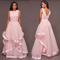 Pink Formal Wedding Bridesmaid Long Evening Party Ball Prom Gown Cocktail Dress