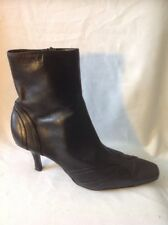 Ladies Black Ankle Leather Boots Size 7