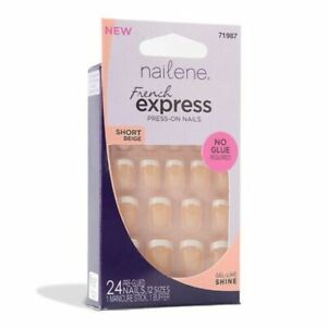 NAILENE 24 Press-On Nails FRENCH EXPRESS - NO GLUE REQUIRED - SHORT BEIGE #71987